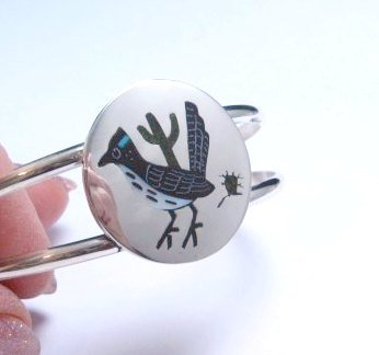 Image 1 of Native American Zuni Roadrunner Bird Bracelet Sanford Edaakie