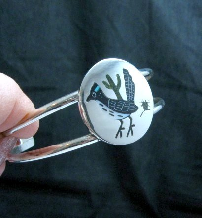 Image 2 of Native American Zuni Roadrunner Bird Bracelet Sanford Edaakie