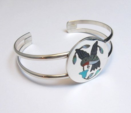 Image 1 of Sanford Edaakie Zuni Inlaid Hummingbird Silver Bracelet, Turquoise Flower
