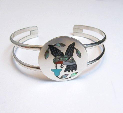 Image 0 of Sanford Edaakie Zuni Inlaid Hummingbird Silver Bracelet, Turquoise Flower