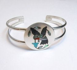 Sanford Edaakie Zuni Inlaid Hummingbird Silver Bracelet, Turquoise Flower