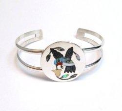 Native American Zuni Hummingbird Silver Bracelet, Yellow Flower, Sanford Edaakie