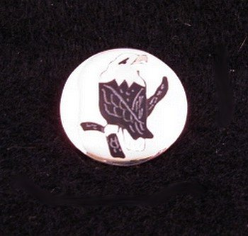 Image 0 of Sanford Edaakie Zuni American Bald Eagle Silver Pin / Pendant