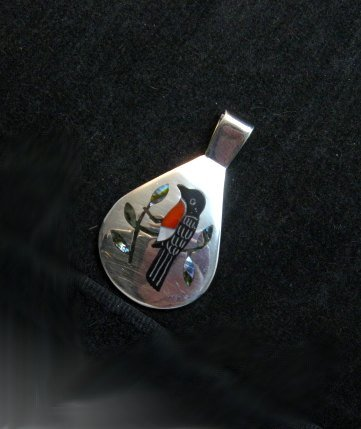 Image 1 of Native American Zuni Inlaid Robin Bird Pendant Sanford Edaakie