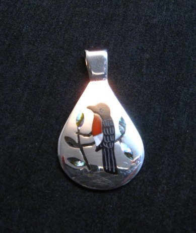 Image 2 of Native American Zuni Inlaid Robin Bird Pendant Sanford Edaakie