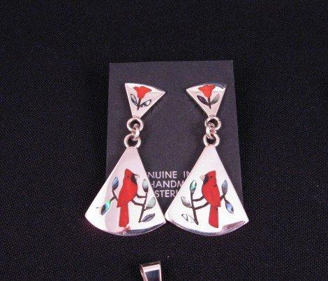Image 0 of Zuni Cardinal 2-Pc Silver Dangle Earrings Red Flower Tops, Sanford Edaakie