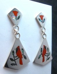 Zuni Cardinal 2-Pc Silver Dangle Earrings Red Flower Tops, Sanford Edaakie