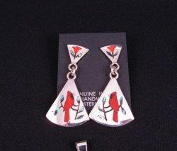 Zuni Cardinal 2-Pc Silver Dangle Earrings Red Flower Tops, Sanford Edaakie