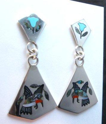 Image 1 of Sanford Edaakie Zuni Inlaid Hummingbird 2-Pc Earrings, Turquoise Flowers