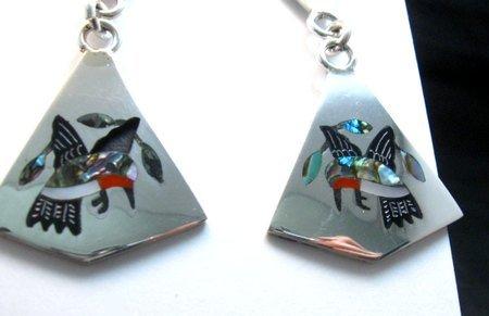 Image 2 of Sanford Edaakie Zuni Inlaid Hummingbird 2-Pc Earrings, Turquoise Flowers