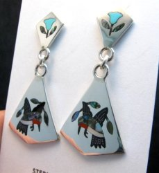 Sanford Edaakie Zuni Inlaid Hummingbird 2-Pc Earrings, Turquoise Flowers