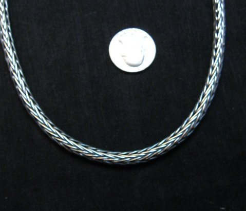 Image 2 of Heavy Navajo Oxidized Woven Silver Rope Necklace 18'', Travis Teller