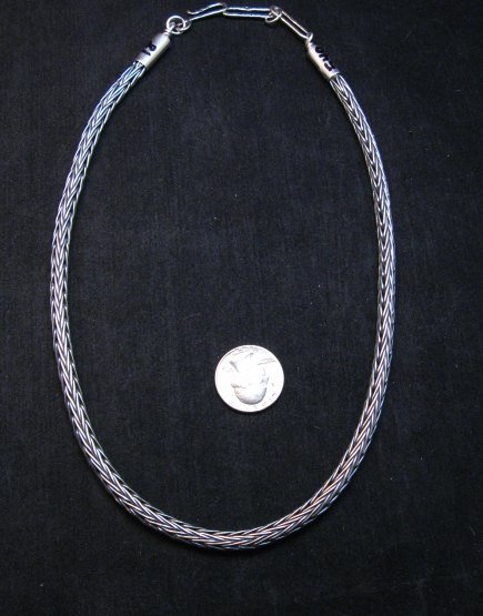 Image 0 of Heavy Navajo Oxidized Woven Silver Rope Necklace 18'', Travis Teller