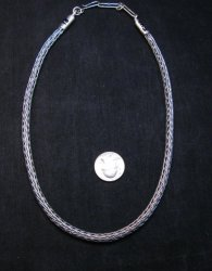 Heavy Navajo Oxidized Woven Silver Rope Necklace 18'', Travis Teller