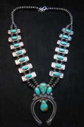 Navajo Bow Tie Squash Blossom Silver Turquoise Necklace, Everett & Mary Teller