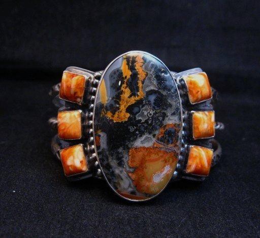 Image 0 of Navajo Everett & Mary Teller Orange Jasper with Spiny Oyster Silver Bracelet