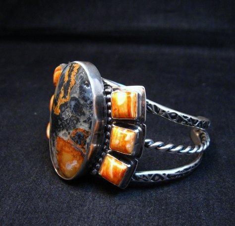 Image 1 of Navajo Everett & Mary Teller Orange Jasper with Spiny Oyster Silver Bracelet
