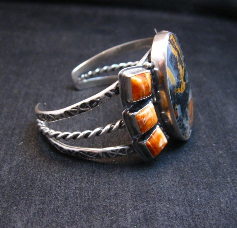 Image 2 of Navajo Everett & Mary Teller Orange Jasper with Spiny Oyster Silver Bracelet