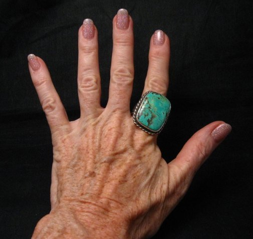 Image 4 of Big Navajo Native American Turquoise Mens Ring, Travis Teller, sz14-1/2