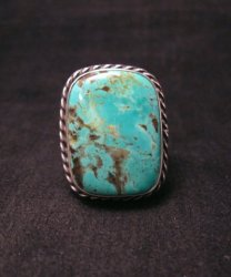 Big Navajo Native American King Manessa Turquoise Ring, Travis Teller, sz14-1/2