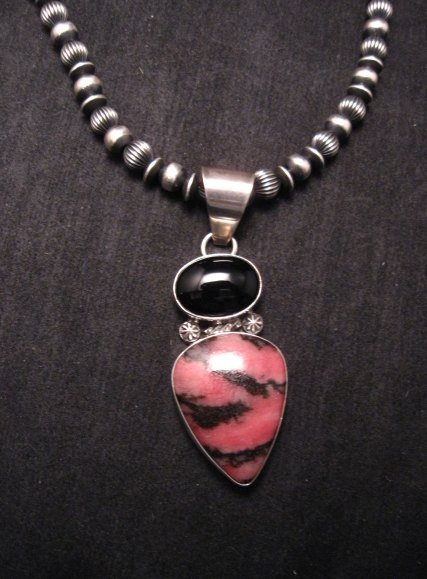 Image 1 of Navajo Native American Rhodonite & Onyx Pendant, Everett & Mary Teller