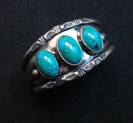 Image 0 of Everett & Mary Teller, Old Style Navajo Kingman Turquoise Cuff Bracelet