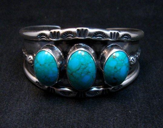 Image 1 of Everett & Mary Teller, Old Style Navajo Kingman Turquoise Cuff Bracelet