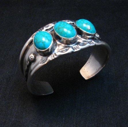Image 2 of Everett & Mary Teller, Old Style Navajo Kingman Turquoise Cuff Bracelet