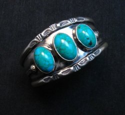 Everett & Mary Teller, Old Style Navajo Kingman Turquoise Cuff Bracelet