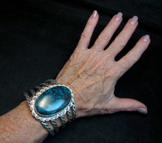 Image 1 of One of a Kind Navajo Shadowkite Silver Bracelet, Everett & Mary Teller