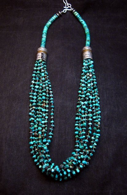 Image 0 of Everett Mary Teller Navajo 9-Strand Kingman Turquoise Nugget Necklace