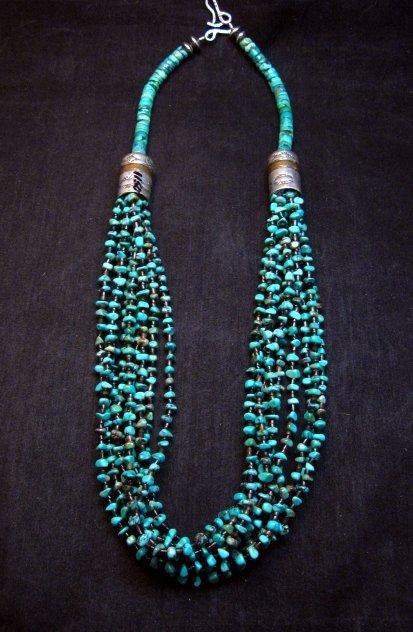 Image 0 of Everett Mary Teller Navajo 9-Strand Kingman Turquoise Silver Necklace