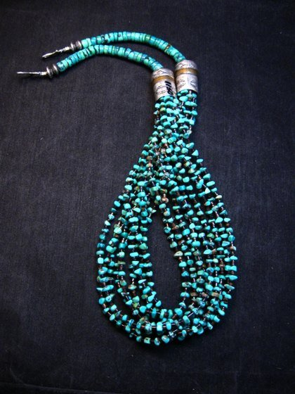 Image 1 of Everett Mary Teller Navajo 9-Strand Kingman Turquoise Nugget Necklace
