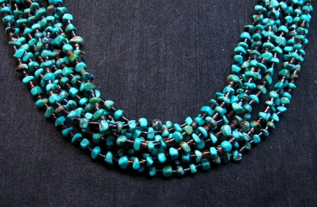 Image 2 of Everett Mary Teller Navajo 9-Strand Kingman Turquoise Nugget Necklace