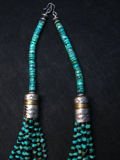 Image 3 of Everett Mary Teller Navajo 9-Strand Kingman Turquoise Nugget Necklace