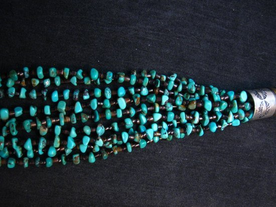 Image 5 of Everett Mary Teller Navajo 9-Strand Kingman Turquoise Nugget Necklace