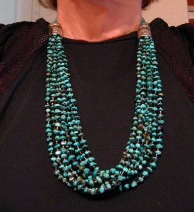 Image 6 of Everett Mary Teller Navajo 9-Strand Kingman Turquoise Nugget Necklace