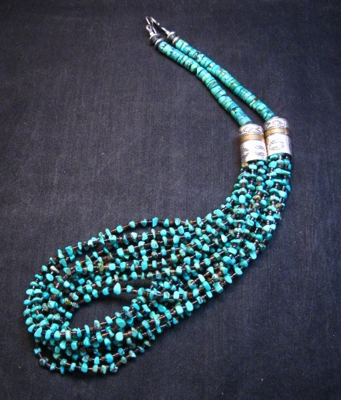 Image 7 of Everett Mary Teller Navajo 9-Strand Kingman Turquoise Nugget Necklace