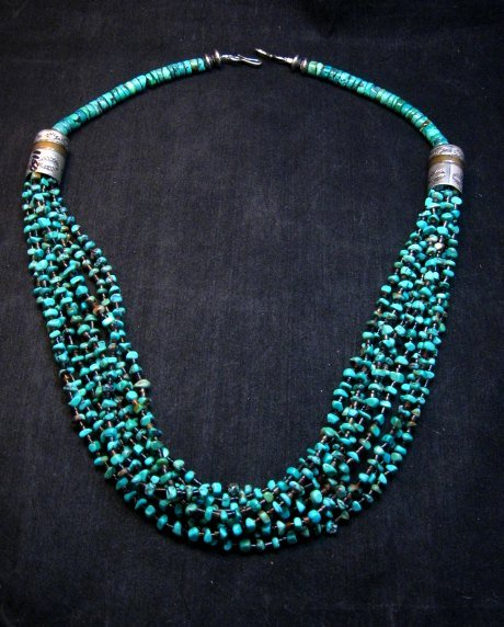 Image 8 of Everett Mary Teller Navajo 9-Strand Kingman Turquoise Nugget Necklace