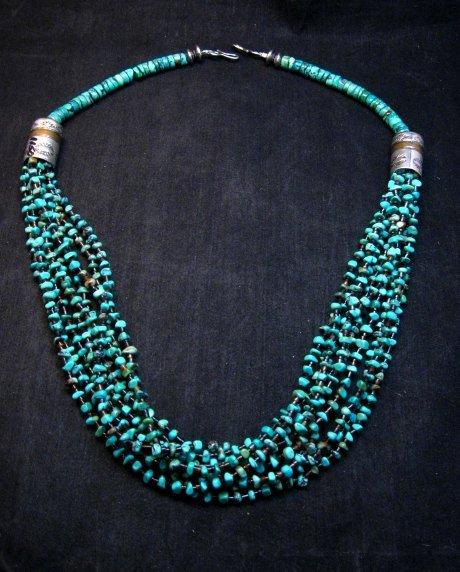 Image 8 of Everett Mary Teller Navajo 9-Strand Kingman Turquoise Silver Necklace