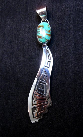 Image 1 of Very Long Navajo Turquoise Silver Overlay Pendant, Everett & Mary Teller