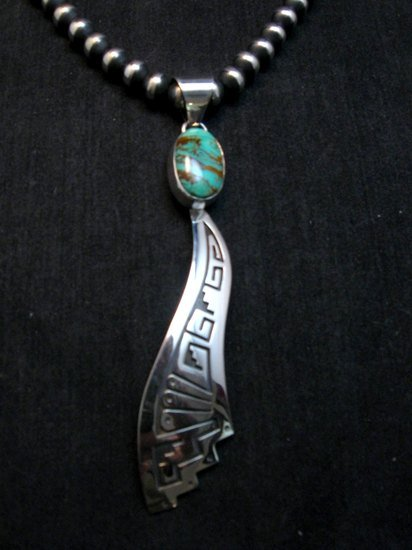Image 0 of Very Long Navajo Turquoise Silver Overlay Pendant, Everett & Mary Teller