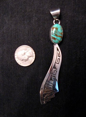 Image 2 of Very Long Navajo Turquoise Silver Overlay Pendant, Everett & Mary Teller