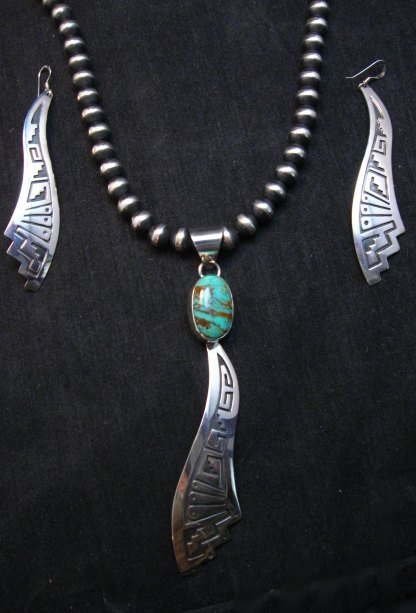 Image 3 of Very Long Navajo Turquoise Silver Overlay Pendant, Everett & Mary Teller