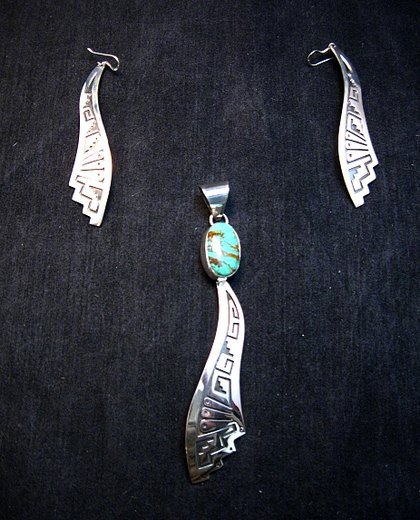 Image 4 of Very Long Navajo Turquoise Silver Overlay Pendant, Everett & Mary Teller