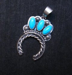 Native American Turquoise Naja Pendant, Everett & Mary Teller Navajo