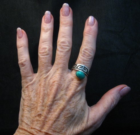 Image 2 of Navajo Sterling Silver Overlay Turquoise Ring, Everett & Mary Teller, sz10