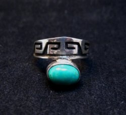 Navajo Sterling Silver Overlay Turquoise Ring, Everett & Mary Teller, sz10