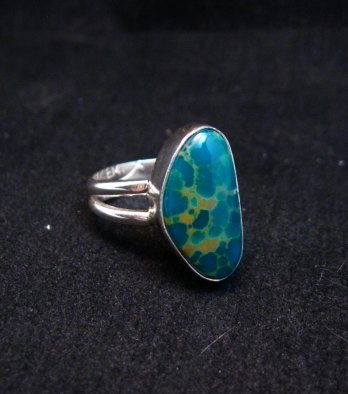 Image 1 of Petite Navajo Emerald Valley Turquoise Silver Ring sz5, Everett Mary Teller