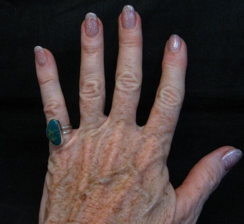 Image 2 of Petite Navajo Emerald Valley Turquoise Silver Ring sz5, Everett Mary Teller